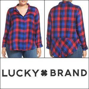 Lucky Brand Bungalow Plaid Button Back Shirt 2X